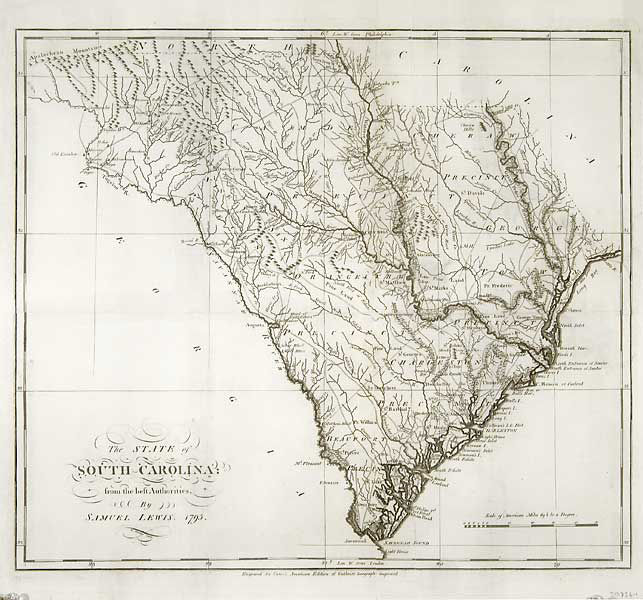 "The State of South Carolina from the best Authorities, by Samuel Lewis. 1795. By Samuel Lewis. Published by Mathew Carey, Philadelphia. Copper plate engraving, 1795. Image size 15 3/4 x 17 1/4"" plus margins. Fair to good condition. The map was at one time folded and has splits and tiny areas of paper loss along fold lines. Professionally repaired. Black & white. LINK."