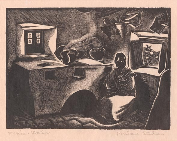 "Our Mexican Kitchen. By Barbara Latham. Wood engraving on pink paper, 1932-33. Image Size: 5 5/8 x 7 5/8"" (143 x 194mm). Good condition, save for minor light discoloration. Signed and titled in pencil. LINK."