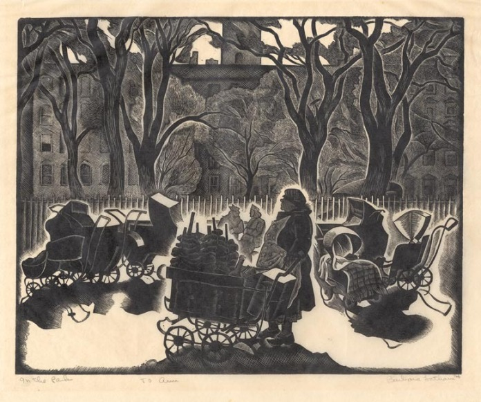 "In the Park.  By Barbara Latham. Wood engraving,c.1937. Edition unknown. Image size 7 15/16 x 9 15/16"" (203 x 253 mm). Very good condition. Signed in pencil. Inscribed ""To Ann"" and ""Imp."" LINK."