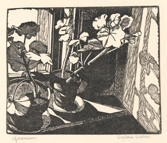 "Geraniums. By Barbara Latham. Woodcut, date unknown. Edition unknown. Image size 6 x 7 3/16"" (152 x 183 mm). Very good condition. Signed and titled in pencil. LINK."