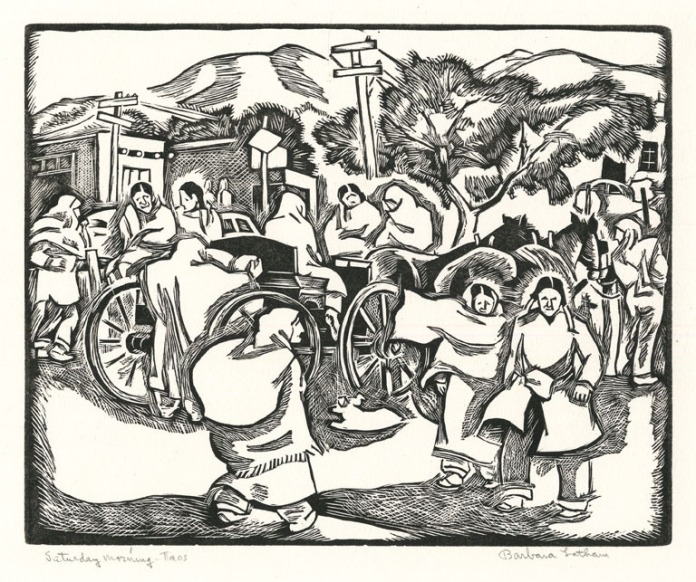 """Saturday Morning - Taos. By Barbara Latham. Linocut, c.1950. Edition unknown. Image size 7 15/16 x 9 15/16"""" (202 x 257 mm). Very good condition. Signed and titled in pencil. LINK."""