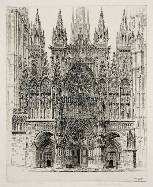 Lace in Stone, Rouen Cathedral. John Taylor Arms. Etching, 1927. Image size 14 1/8 x 11 1/4 inches. Fletcher 200. 18 in the French Church Series. Edition 100. Signed and dated in pencil. LINK.  (Double-click on image to enlarge.)