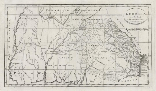 Georgia, from the latest Authorities. Published by Mathew Carey, Philadelphia. Copper plate engraving, 1795. Images size 8 7/8 x 15 5/8 inches, plus margins. Good condition save for small area of paper fill in upper left margin, not affecting the image. Black & white. LINK/