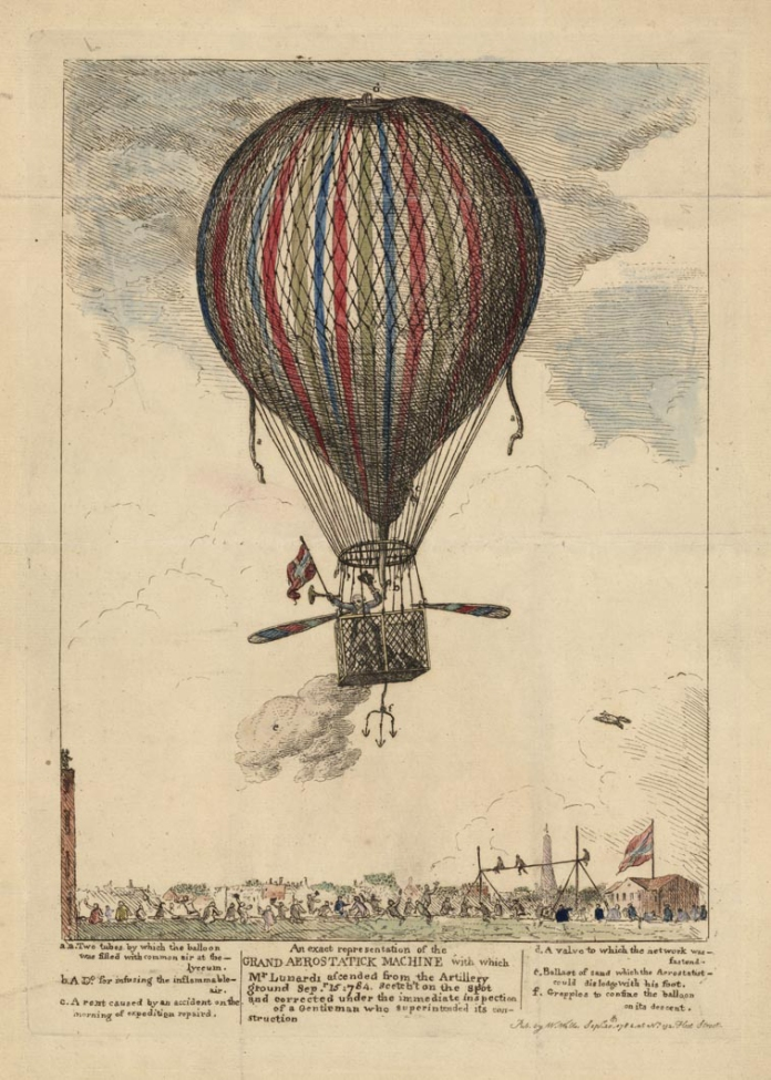 "Exact Representation of the Grand Aerostatick Machine with which Mr. Lunardi ascended from the Artillery Ground Sep. 15 1784. Published by W. Wells, Sep. 28 1784, at No. 132, Fleet Street. Etching, handcolored,1784. Image size 12 x 8 3/4"" (305 x 224 mm). LINK."