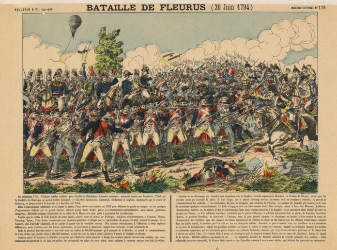 "Bataille de Fleurus (26 Juin 1794). Engraving, hand-colored. c.1830. Pellerin & Co., imp-edit. Imagerie D'Epinal No.178.   Image depicts the French military with a balloon tethered in the backgrounds. Image size 7 7/8 x 12 15/16"" (200 x 328 mm). LINK."