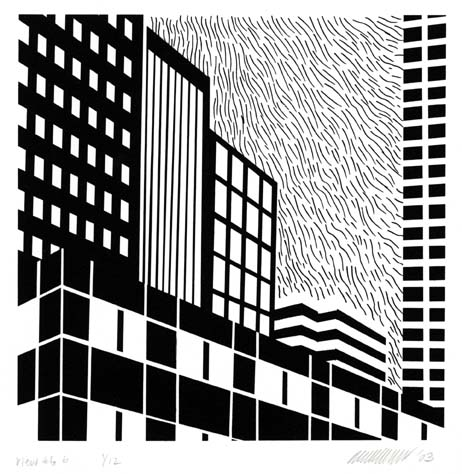 "Urban Views.  (Large) #6B. Patrick J. Anderson. Serigraph, 2003. Image size 6 x 6"" (151 x 151 mm). Edition 12. LINK."