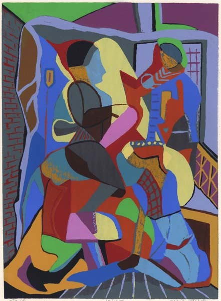 "Trio. Dorie Marder. Serigraph, 1945. Image size 14 7/8 x 10 7/8"" (377 x 276 mm). Edition 45. LINK."