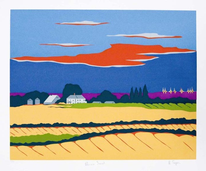 "Prairie Sunset. Allan Simpson. Serigraph, 1987. Image size 16 5/16 x 20 1/4"" (416 x 514 mm). Edition 30. LINK."