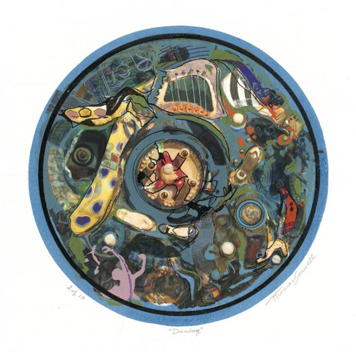 "Dancing. Thomas Seawell. Serigraph and archival digital, 2010. Tondo - diameter 9 1/2 x 9 1/2"" (240 mm). Edition 10. LINK."