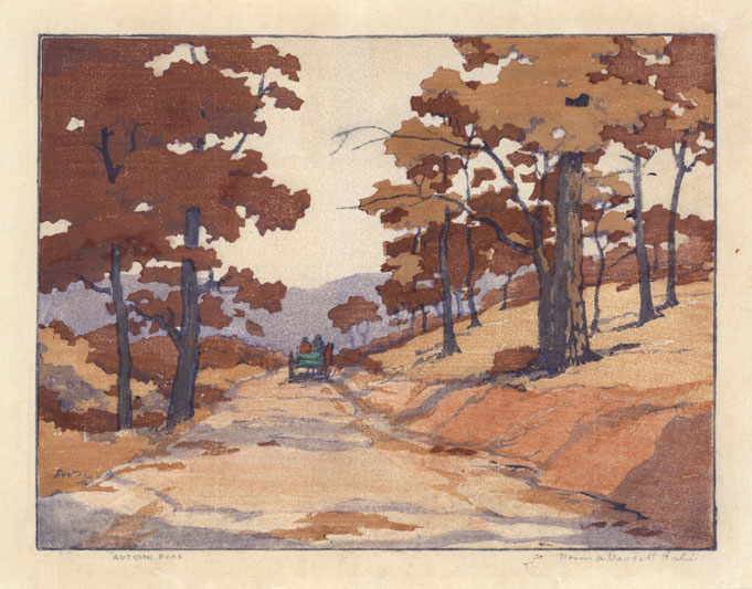 Autumn Road Santa Fe. By Norma Basset Hall. Color woodblock, 1928. Signed in pencil by the artist.