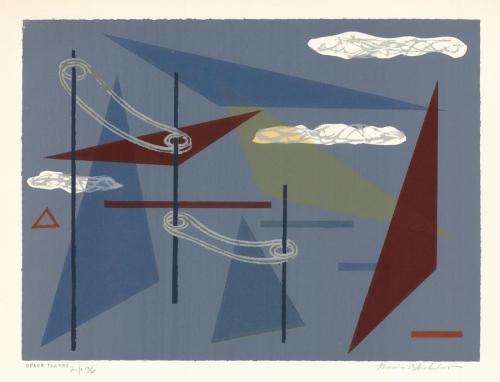 "Space Planes. Morris A. Blackburn. Serigraph, c. 1950.  8 5/8 x 12"" (227 x 305 mm). LINK."