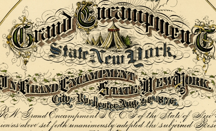 "(DETAIL OF)  I.O.O.F. Grand Encampment State of New York... City of Rochester Aug. 24th 1876...Francis Rogers... Engraving, 1876. Image size 11 1/8 x 9"" oval (284 x 227 mm). From a book of lettering and penmanship.  A certificate of thanks to Francis Rogers for the ""courteous manner in which he discharged his duties"" as the Grand Patriarch. LINK."