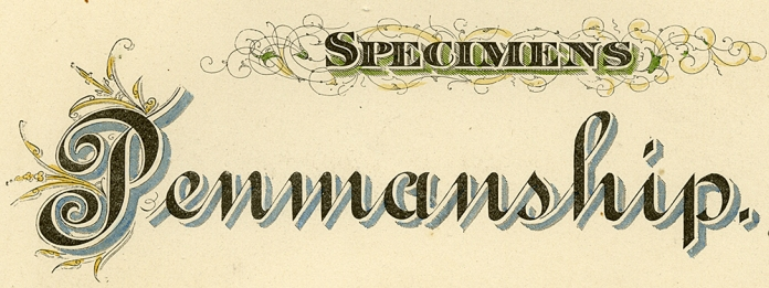 "(DETAIL OF) Specimens. Engraving, 1880. Image size 11 x 8 1/2"" (282 x 218 mm). From a book of lettering and penmanship.  A page of examples of lettering. Good condition. LINK."