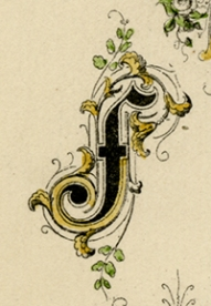 "(DETAIL OF) Decorative Alphabet. (Supplied title)  Page 43. Engraving, 1880. Image size 10 x 8"" (225 x 204 mm). From a book of lettering and penmanship.  A decorative alphabet with very ornamental letters below. LINK."