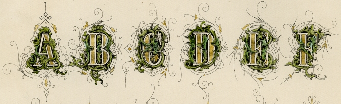 "(DETAIL OF) Decorative Alphabet. (Supplied title)  Page 41. Engraving, 1880. Image size 10 x 8"" (255 x 204 mm). From a book of lettering and penmanship.  An exquisitely decorative alphabet is pictured. LINK."