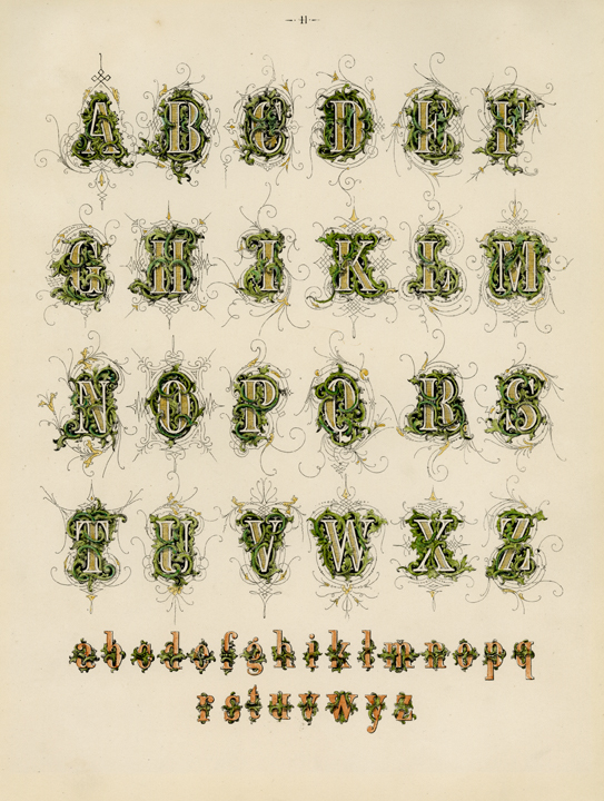 "Decorative Alphabet. (Supplied title)  Page 41. Engraving, 1880. Image size 10 x 8"" (255 x 204 mm). From a book of lettering and penmanship.  An exquisitely decorative alphabet is pictured. LINK."