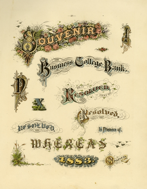 "Souvenir....   Page 48. Engraving, 1880. Image size 10 1/2 x 8 1/2"" (268 x 217 mm). From a book of lettering and penmanship.  A page of words and letters in ornate lettering styles. LINK."
