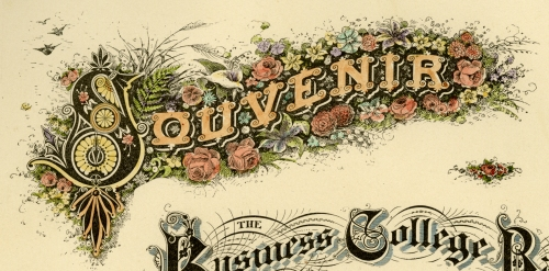 "(DETAIL OF)  Souvenir....   Page 48. Engraving, 1880. Image size 10 1/2 x 8 1/2"" (268 x 217 mm). From a book of lettering and penmanship.  A page of words and letters in ornate lettering styles. LINK."