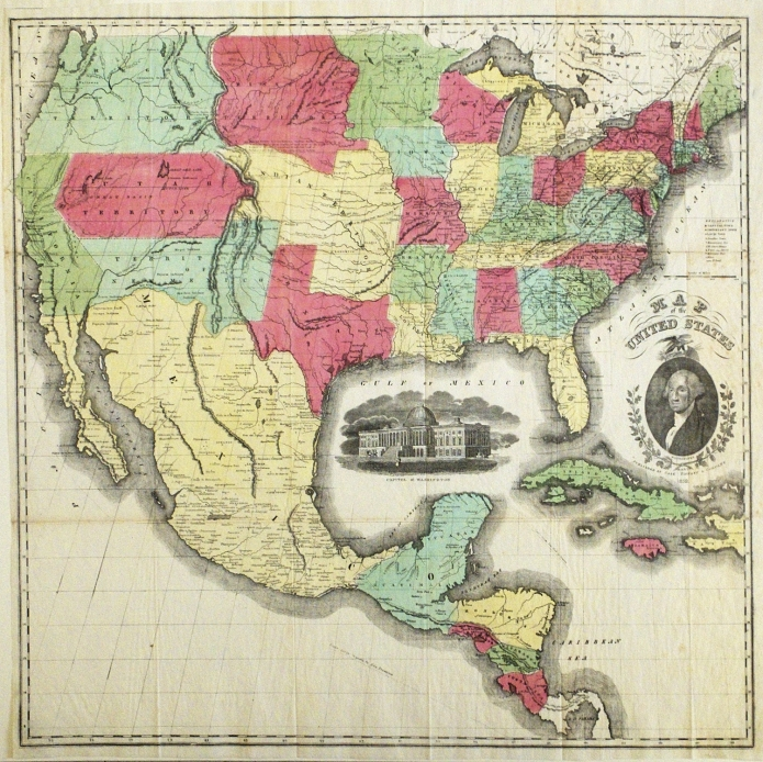 """Map of the United States. Published by Case, Tiffany & Company. Handcolored stone engraving, 1851-1852. Image size 23 3/4 x 24"""" (602 x 657 mm) plus margins. LINK."""
