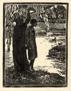 Woman Under a Tree. BY Eliza Draper Gardiner. Woodblock, c. 1932. Image size 6 x 7 inches. LINK.