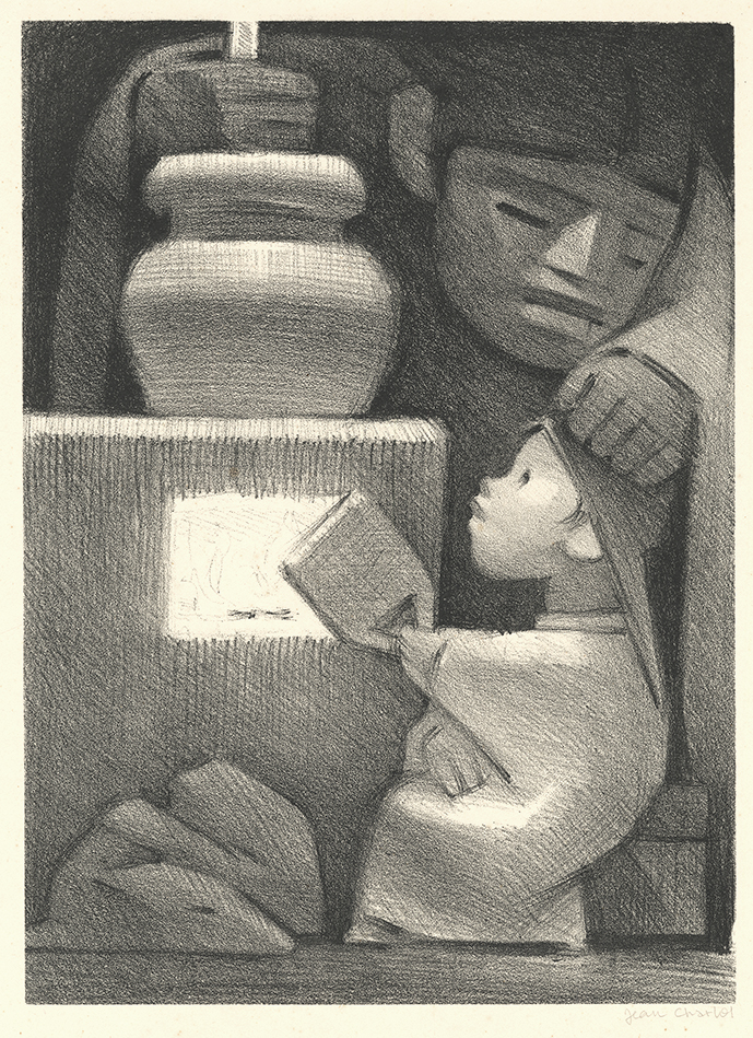 """Mexican Kitchen - Mexico. By Jean Charlot. Lithograph, 1946. Printed by Jose Sanchez at Taller de Grafica Popular. Published by Associated American Artists. Image size: 13 1/2 x 9 3/4"""" (343 x 247mm). LINK."""