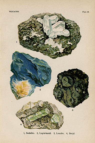 "Silicates. Plate 28. 1. Sodalite. 2. Lapis-lazuli. 3. Leucite. 4. Beryl. From ""The World's Minerals"" by J. Spencer. LINK."