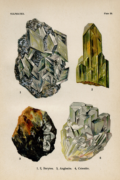 "Sulphates. Plate 20. 1-2. Barytes. 3. Anglesite. 4. Celestite. From ""The World's Minerals"" by J. Spencer. LINK."