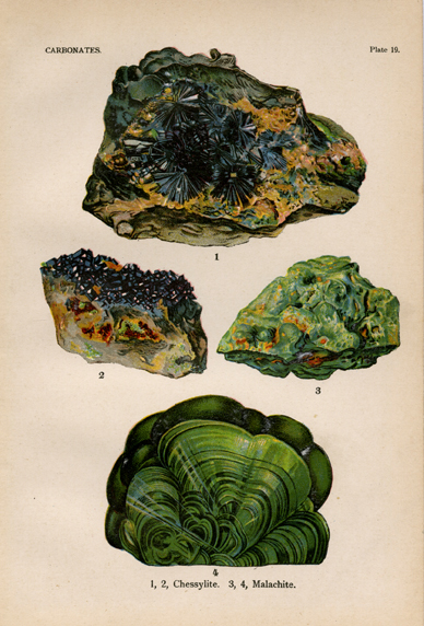"Carbonates. Plate 19.  1-2. Chessylite. 3-4. Malachite. From ""The World's Minerals"" by J. Spencer. LINK."