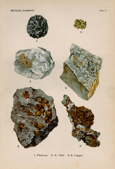 "Metallic Elements. Plate 3. 1. Platinum. 2-4. Gold. 5-6. Copper. From ""The World's Minerals"" by J. Spencer. LINK."