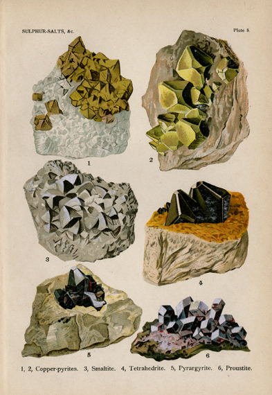 "Sulphur-Salts. Plate 8. 1, Platinum. 2-4, Gold. 5,6, Copper. From ""The World's Minerals"" by J. Spencer. LINK."