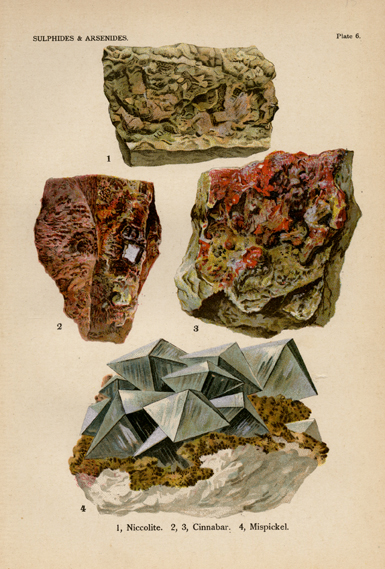 "Sulphides & Arsenides. Plate 6. 1. Niccolite. 2. & 3. Cinnabar. 4. Mispickel. From ""The World's Minerals"" by J. Spencer. LINK."