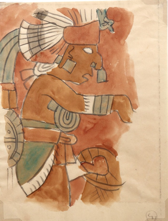 Chichʻen Itza Archaeological Wash and Sketch. Image courtesy of The Jean Charlot Collection,  University of Hawai'i at Manoa.