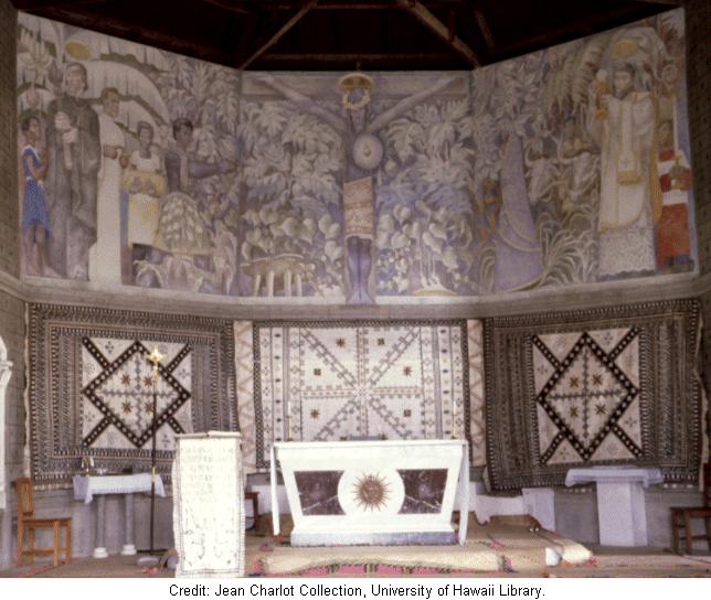 Murals in St. Francis Xavier Church, Naiserelagi, Province of Ra, Fiji, 1962. Image courtesy of The Jean Charlot Collection,  University of Hawai'i at Manoa.