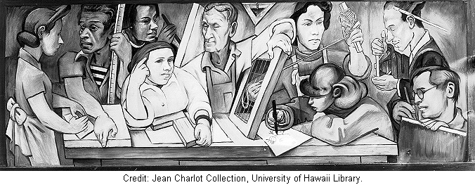 Fresco Class in Action. Basement, The Art Students League of New York, New York. January 1941.  Destroyed.Image courtesy of The Jean Charlot Collection,  University of Hawai'i at Manoa.
