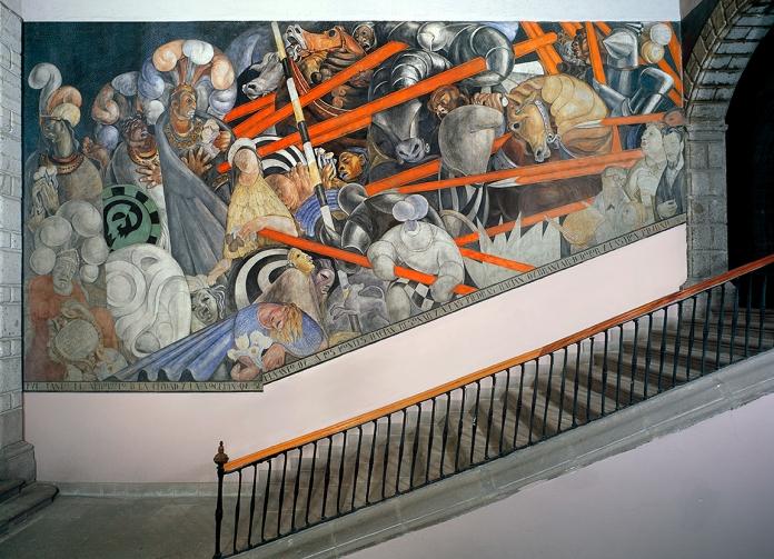 Complex of murals in the Escuela Preparatoria, Mexico City. Image courtesy of The Jean Charlot Collection,  University of Hawai'i at Manoa.