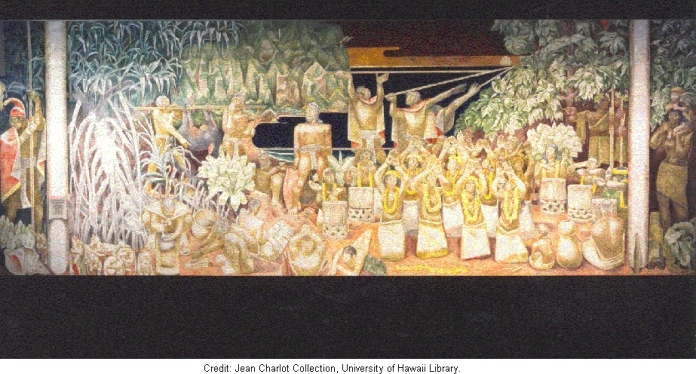Relation of Man and Nature in Old Hawaii. First floor, Bachman Hall, University of Hawaii, Honolulu, Hawaii. Image courtesy of The Jean Charlot Collection,  University of Hawai'i at Manoa.