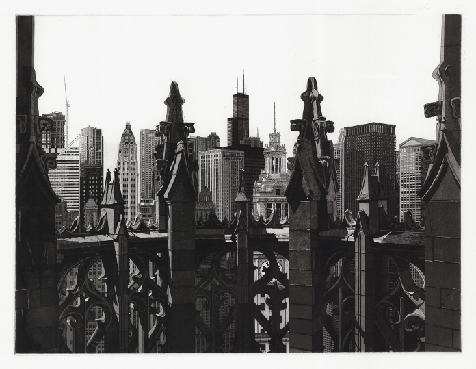 Tribune Tower. Martin Levine. Etching and aquatint, 2013. Ed. 10/50.  Image size 11 3/4 x 15 5/8 inches Signed and titled in pencil. LINK.