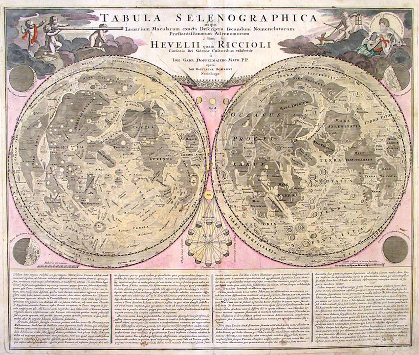 Tabula Selenographica in qua Lunarium Macularum exacta Descriptio…. By Johann Gabriel Doppelmayr. Published by Homann Heirs, Nuremberg. Handcolored copper plate engraving, c.1742. LINK.
