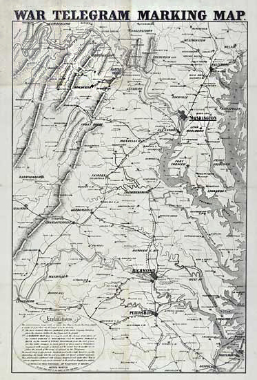 "War Telegram Marking Map. Published by L. Prang & Co. Boston. Lithograph, 1862. Image size 33 3/8 x 22 3/8"" (850 x 567 mm) plus margins. Good condition save for repared splitting along fold lines. Backed with japan paper. LINK."