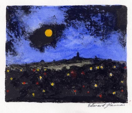 "Moon over Hilltown. By Edward Glannon. Lithograph, undated. Image size 4 1/4 x 5 3/8"". LINK."