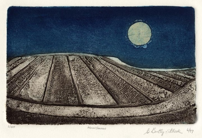 "Moon Garden I. By Grace Bentley-Scheck. Collagraph, 1997.  Edition 40. Image size 6 13/16 x 11"" (176 x 279 mm). LINK."