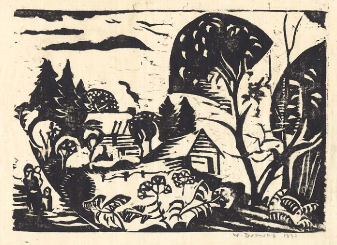 "Farm with Figures. By Werner Drewes. Woodcut on Japanese paper, 1931.  Image size 8 3/8 x 11 3/4"". LINK."