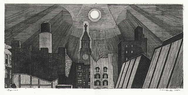 "Manhattan Rooftops in Moonlight. By Armin Landeck. Copper engraving, 1980. Edition 75. Image size 5 13/16 x 12 3/16"". LINK."