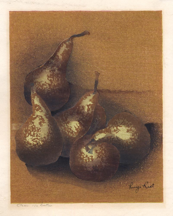 Pears. By Luigi Rist. Color woodblock, 1948. Image size 8 7/8 x 7 1/16 inches. LINK.
