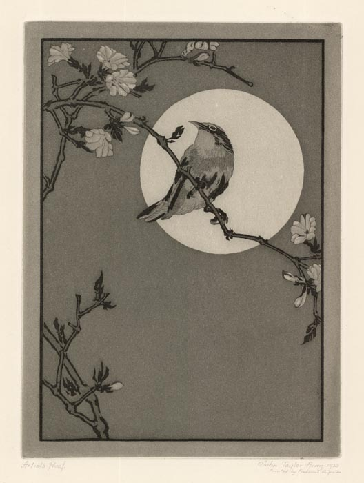 "The Full Moon. By John Taylor Arms. Etching, 1920. Image size 8 x 5 15/16"" (204 x 151 mm). Link."