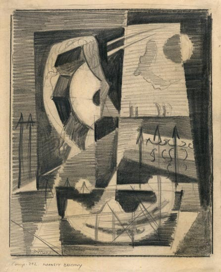 "Moonlit Balcony. (Comp 292). By Werner Drewes. Graphite Drawing, 1938. Image Size 6 5/8 x 5 7/16"". Signed in pencil lower left, dated and inscribed with the artists cipher lower right ""38"". LINK."