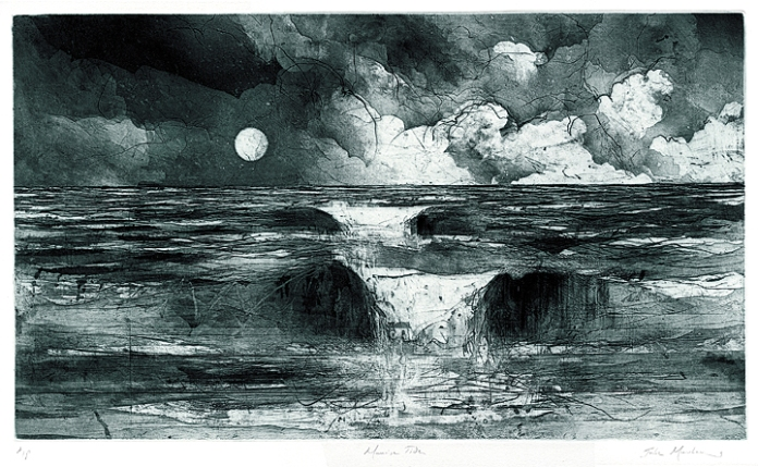 "Moonrise Tide. (green ink). By Jake Muirhead. Softground & aquatint, 2013. A/P. Image size 13 3/4 x 23 3/4"". LINK."