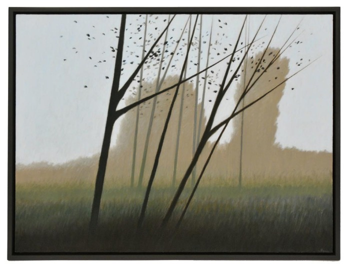"And on the Hill, Two Trees. Robert Kipniss. Oil on canvas, 2013. Canvas size 30 x 40"" (76.2 x 101.6 cm)."