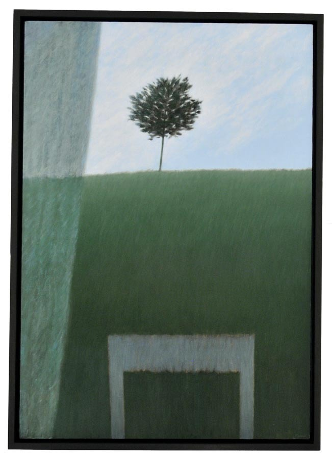 "Window w/Curtain & Hill. Robert Kipniss. Oil on canvas, 2013. Canvas size 36 x 25"" (91.5 x 63.5 cm)."