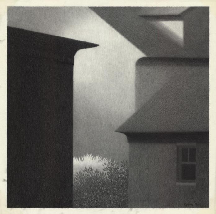 "Eaves with Dark Window. Robert Kipniss. Pencil drawing on mylar, 1990. Image size 13 1/2 x 13 1/2"" (343 x 343 mm)."
